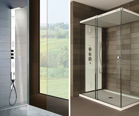 صورة حمامات شاور زجاج , استايلات شيك لتواليتات الاستحمام من الزجاج