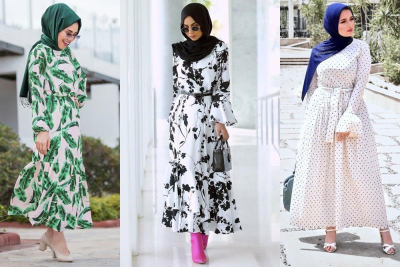 صورة ملابس طويلة للمحجبات , اشيك موديلات للمحجبات ٢٠١٩