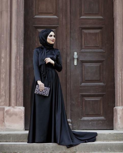 صور فستان سهرة اسود للمحجبات , فساتين سواريه تجنن تهوس يابنات