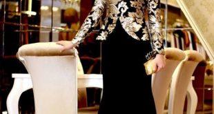 صورة فستان سهرة اسود للمحجبات , فساتين سواريه تجنن تهوس يابنات