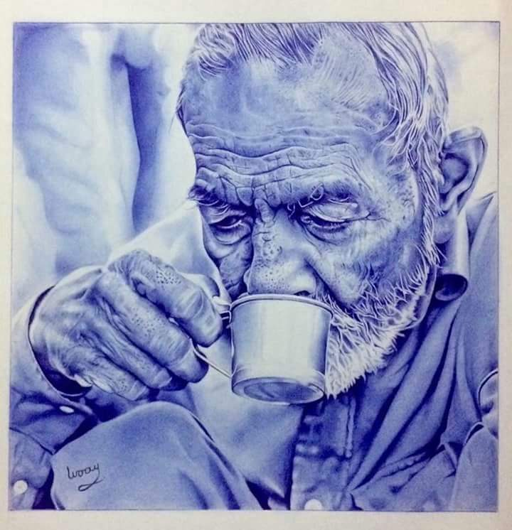 صورة الرسم بالقلم الجاف , رسومات وبورتريهات بالقلم الازرق الجاف