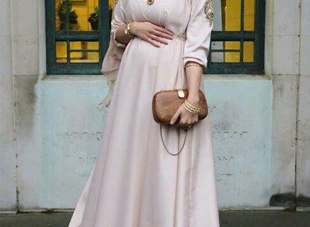 صورة فساتين حوامل للمحجبات , دريسات حمل مناسبة للسيدات المحجبة